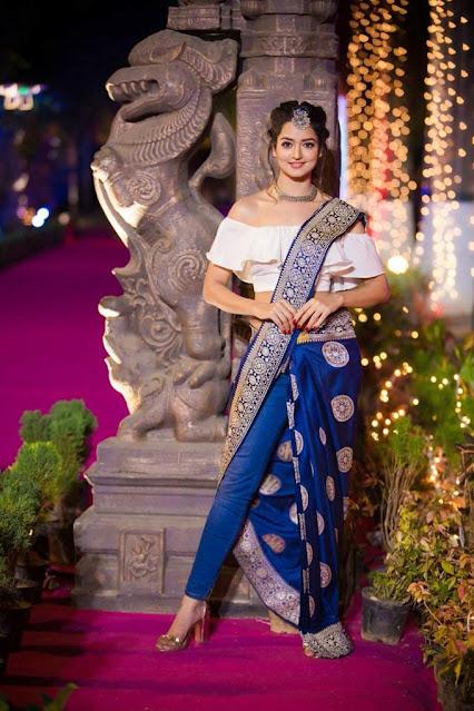 Actress Shanvi Srivastava Latest Photo Stills in Saree with Pant Navel Queens