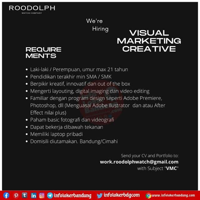 Lowongan Kerja Visual Marketing Creative Roodolph Watch Bandung Agustus 2021