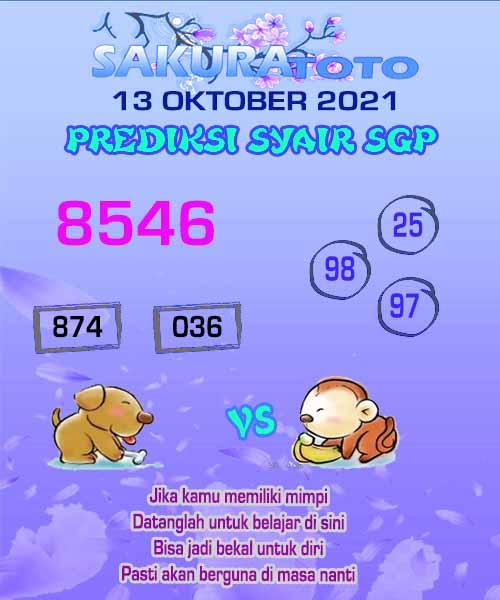 sakura SGP Rabu 13 Oktober 2021
