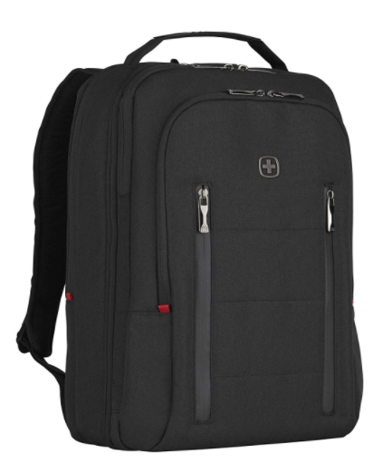 Wenger CITY TRAVELER Laptop Backpack for 16 Inch Laptop & 12 Inch Tablet Pocket, Doubles as an overnighter in Black (16 Litre)-blend of style & function, Swiss designed, 606490