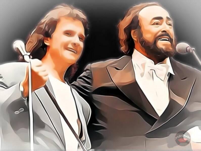 """Roberto e Pavarotti interpretaram juntos dois clássicos mundiais: """"Ave Maria"""" de Franz Shubert (1825) e """"O Sole Mio"""""""