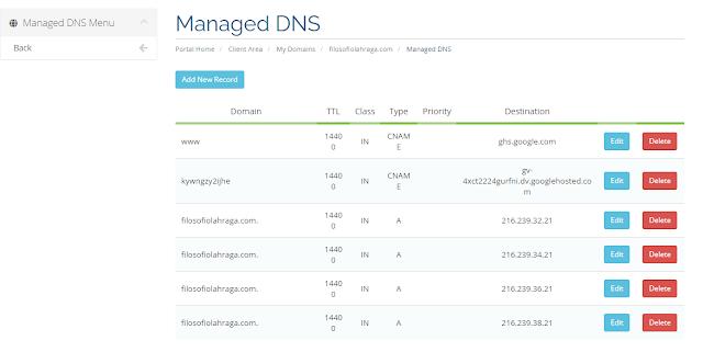 cara setting DNS blog