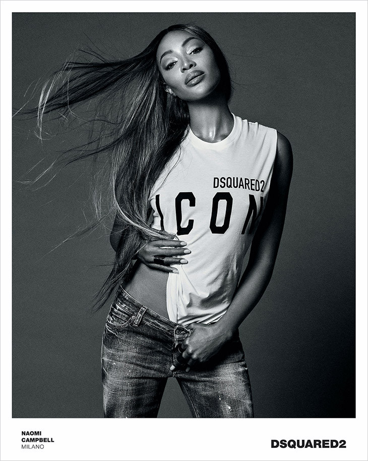 Naomi Campbell models for DSquared2 Fall/Winter 2021 Icon Campaign