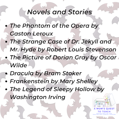 A Mom's Quest to Teach logo; classic scary stories list