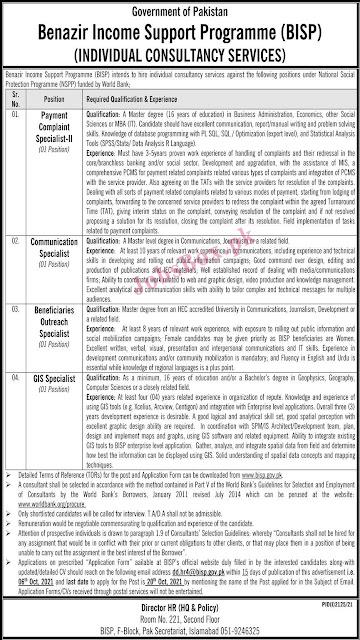 Govt Jobs 2021 in Benazir Income Support Program