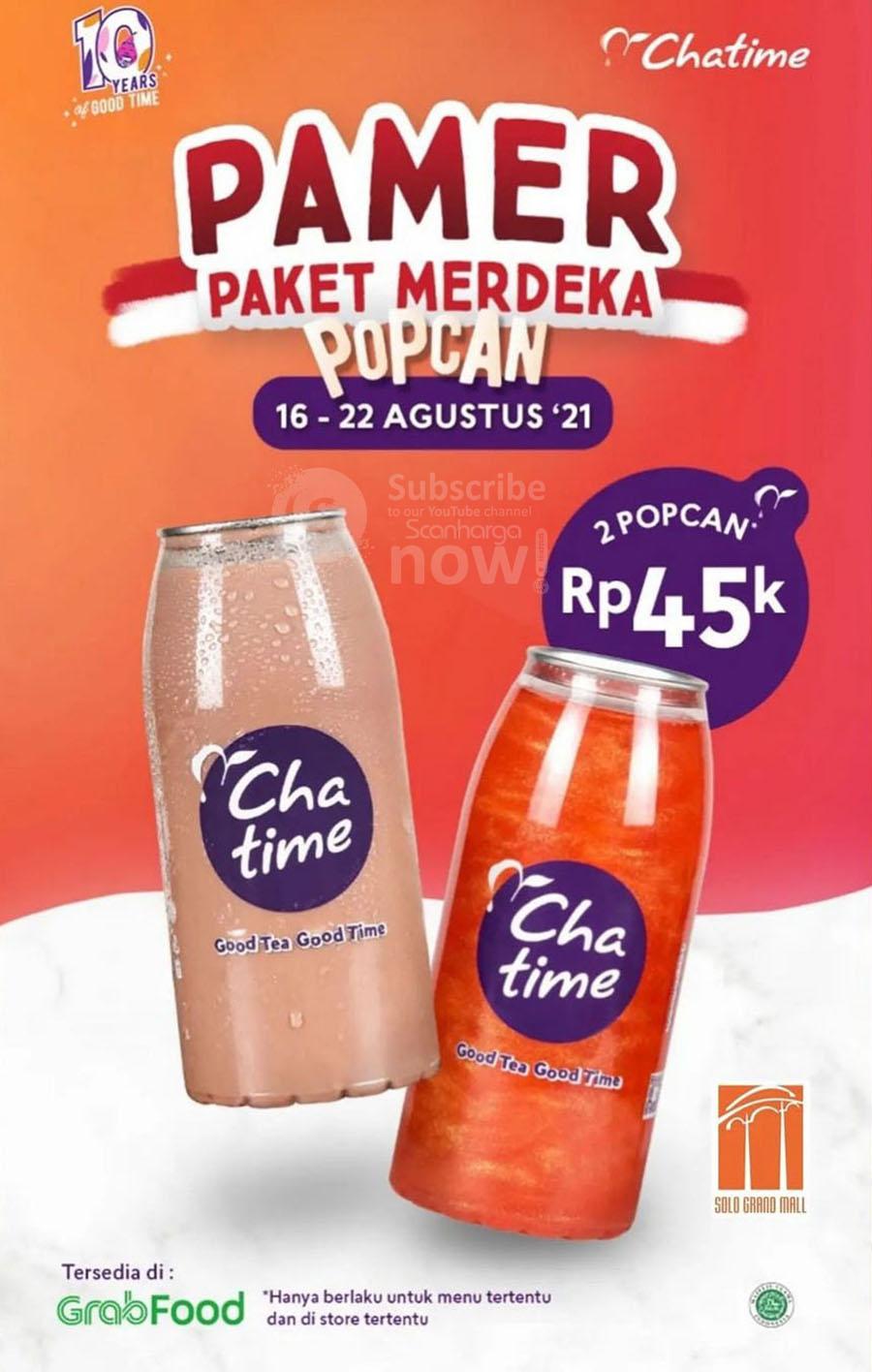 Chatime Promo Paket Merdeka Grabfood - 2 Chatime hanya Rp. 45.000 2