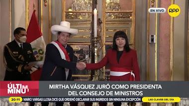 Pedro Castillo tomó juramento a Mirtha Vásquez como jefa del Gabinete Ministerial