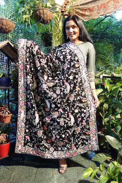 Black Parsi Gara embroidered dupatta on georgette