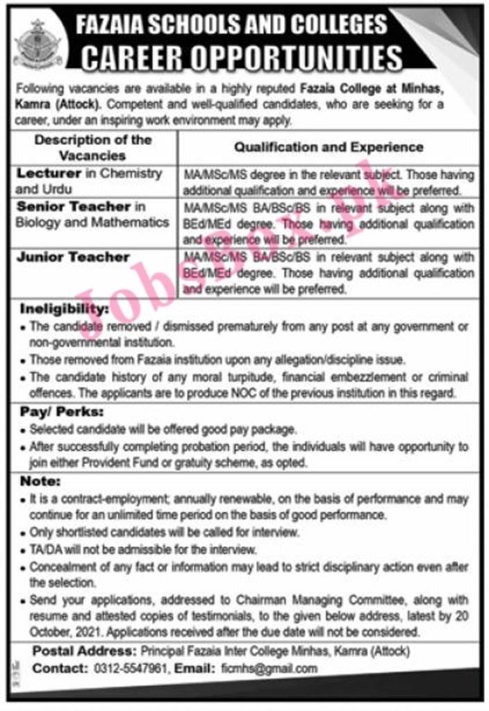 Fazaia Inter College Jobs 2021 in Pakistan