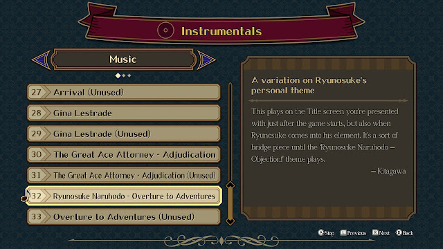 The Great Ace Attorney Chronicles Auditorium Instrumentals Music list