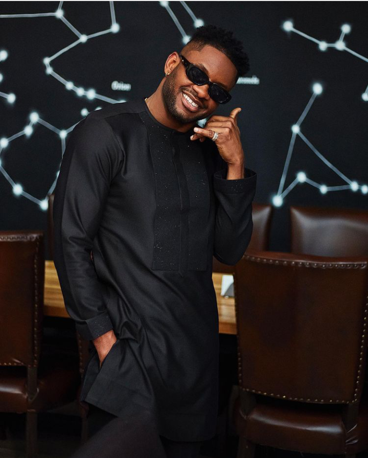 BBNaija: Cross sends a strong message to his fans as he dazzles in a native black outfit