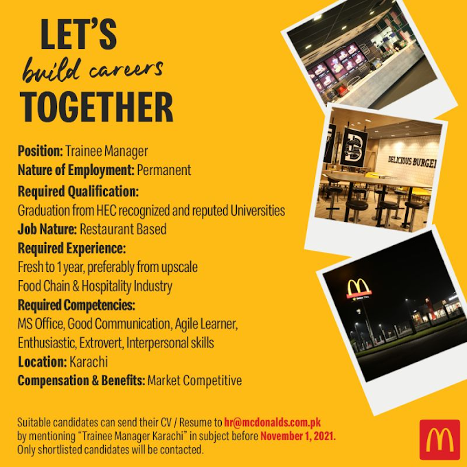 Jobs in Mcdonalds 2021 for Trainee Manager
