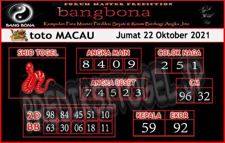 Prediksi Bangbona Toto Macau Jumat 22 Oktober 2021