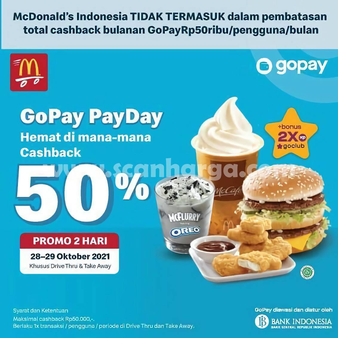 Promo McDonalds Gopay Payday Casback 50%