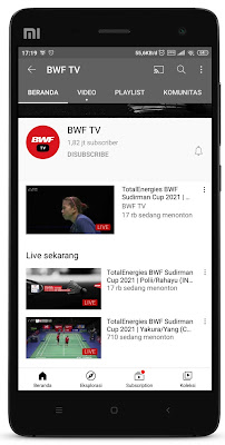 Streaming Live Sudirman Cup 2021