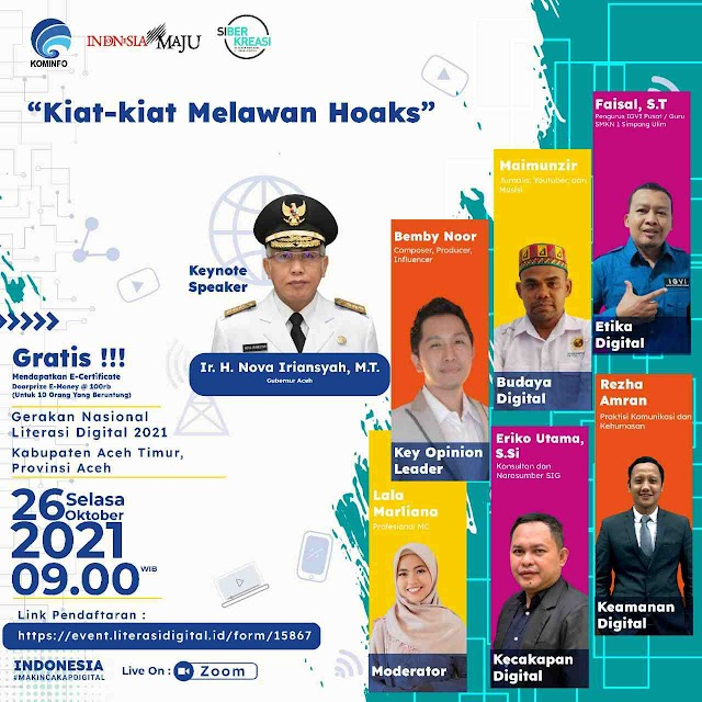 "Maimunzir Atau Bang Ges Hadir dalam Acara Acara yang diinisiasi oleh Kominfo RI Dengan Tema ""Kiat-kiat Melawan Hoak""."