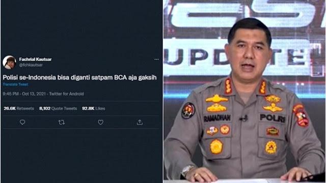 Tanggapi Cuitan Trending 'Polisi Diganti Satpam BCA', Mabes Polri: Kami Tak Antikritik