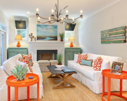 Decorating Ideas with Orange Coastal Living Room Designs Beach House