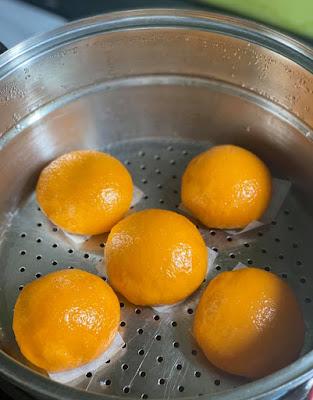 Bánh bao quả cam màu vàng đẹp