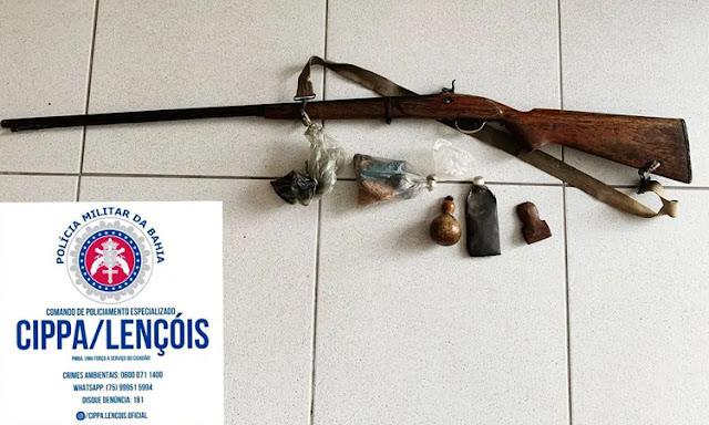 Cippa Lençóis faz apreensão de arma de fogo e petrechos de caça, em Andaraí