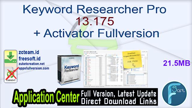 Keyword Researcher Pro 13.175 + Activator Fullversion
