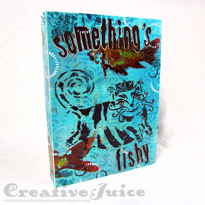 Lisa Hoel for Eileen Hull - Something's Fishy! mixed media cover made using her new Full Size Journal die  #tcwstencillove #creativejuicefreshsqueezed #eileenhull #eileenhulldesigns #eileenhullsizzix #ehinspirationteam #eheducators #Sizzix #mymakingstory #diecutting