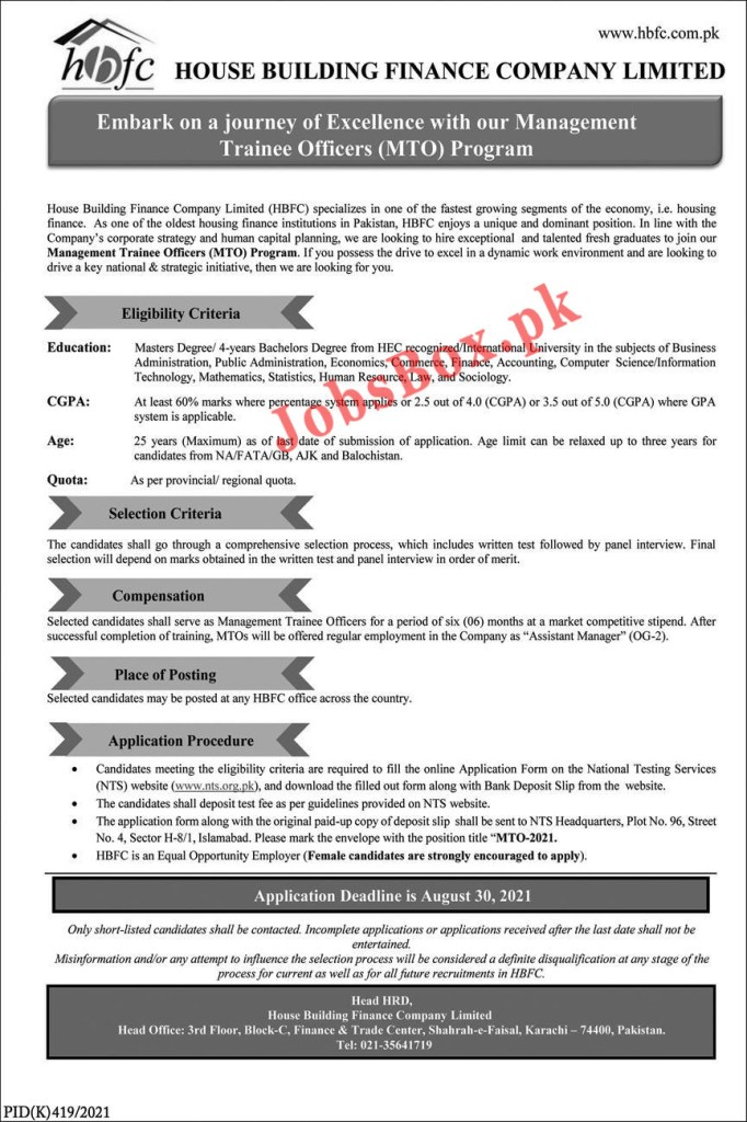 HBFC Jobs 2021 for Management Trainee Officers – Apply via NTS  Portal www.nts.org.pk