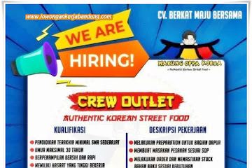 Loker Bandung Crew Outlet Warung Oppa Korea