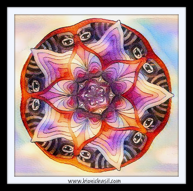 Mandalas on Monday ©BionicBasil® Colouring With Cats Mandala #128 coloured by Cathrine Garnell