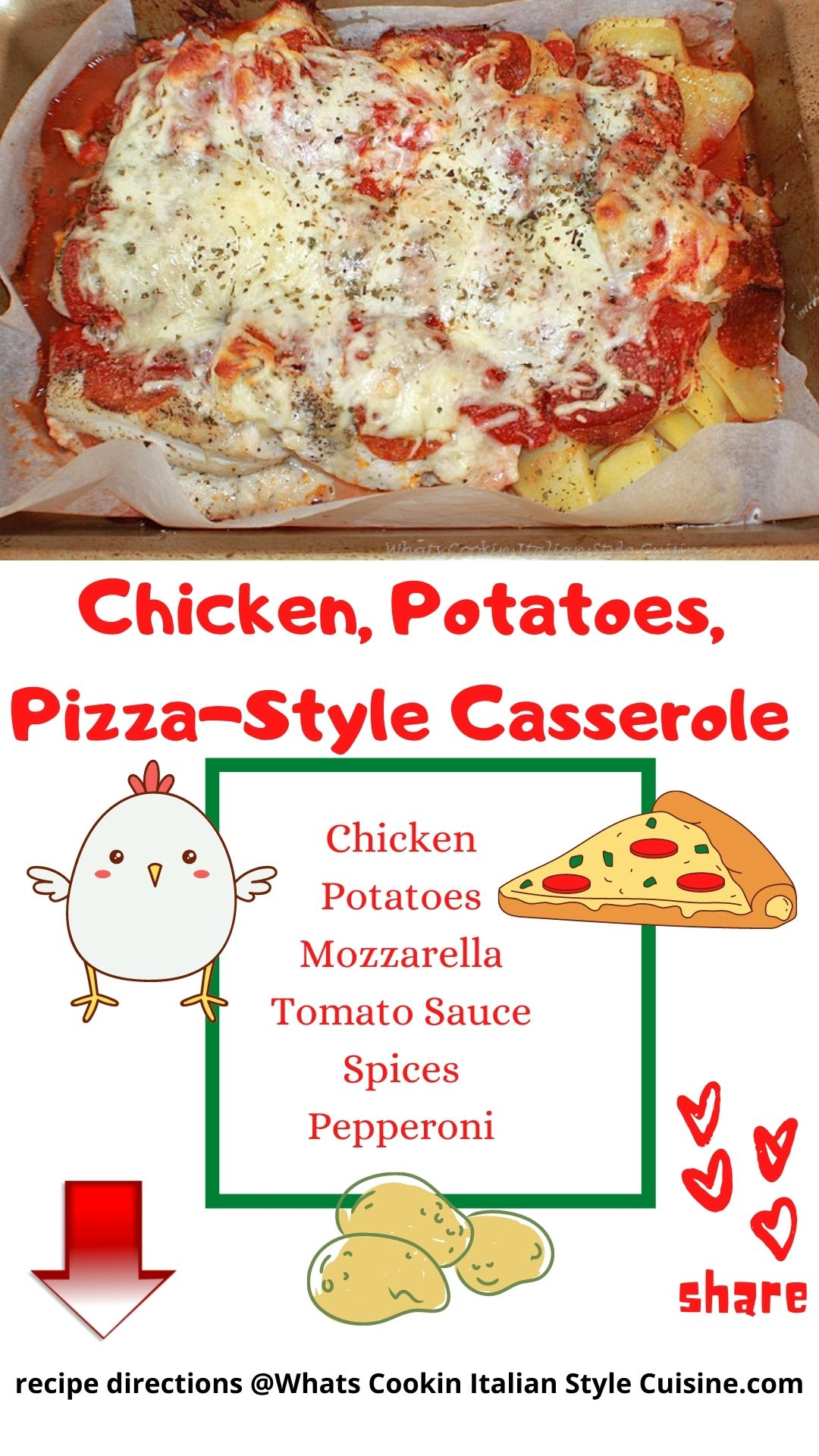 pin for later chicken pizza casserole