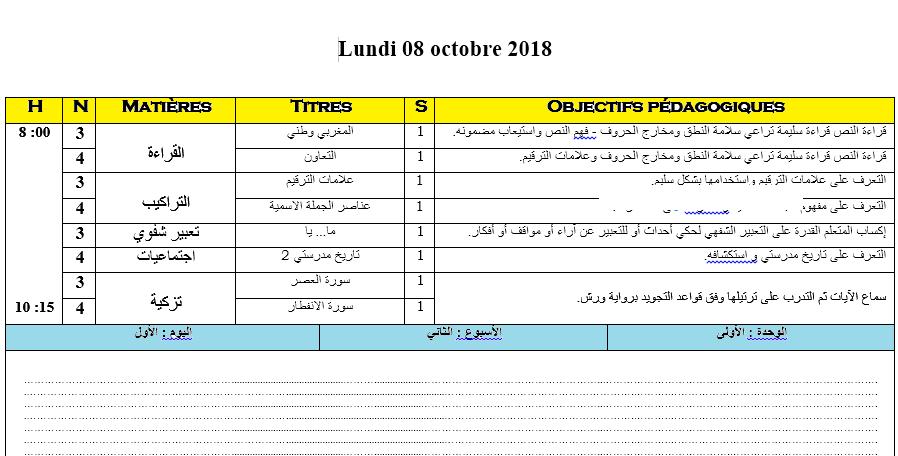 المذكرة اليومية مملوءة للقسم المشترك للمستويين 4+5 الرابع و الخامس مزدوج