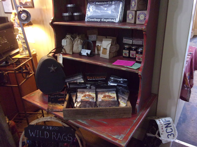 Items available for sale in the Oakdale Cowboy Museum Gift Shop including jam, jerky, and license plate borders