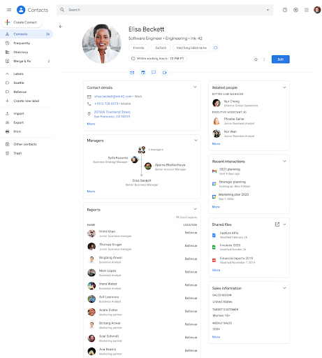In Contacts, you'll see additional information about people in your organization, such as the local time in their area, their working hours, shared files, and more.