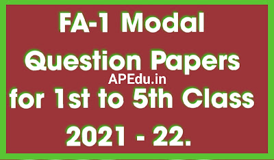 FA 1 Question Papers for 2021 - 22