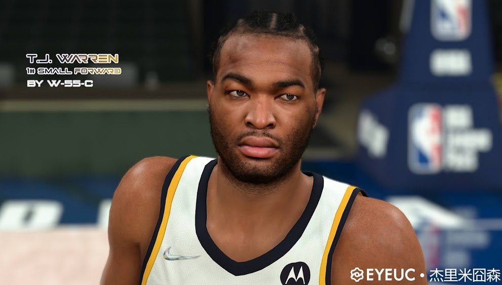 NBA 2K22 TJ Warren Cyberface, Hair and Body Model V1 by White55Chocolate