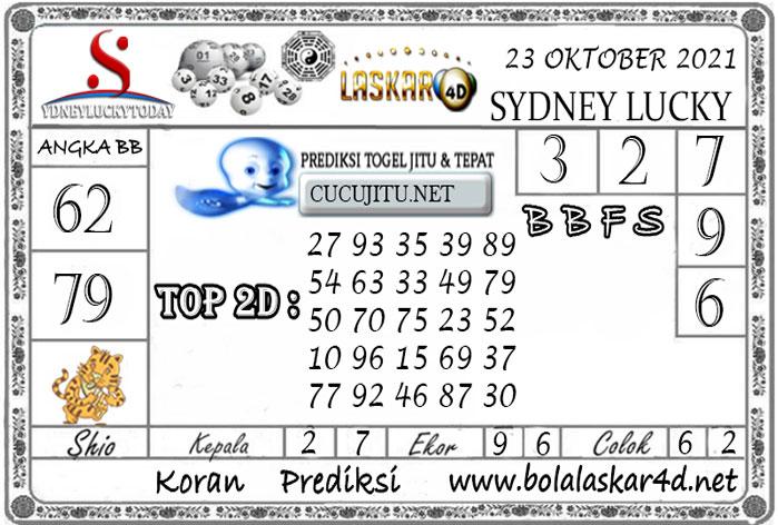 Prediksi Togel Sydney Lucky Today LASKAR4D 23 OKTOBER 2021