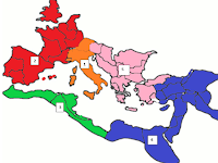 Region 1: Peninsular Italy; Region 2: Western Europe; Region 3: Western Coast of Africa; Region 4: Egypt and Eastern Mediterranean; Region 5: Greece and the Balkans