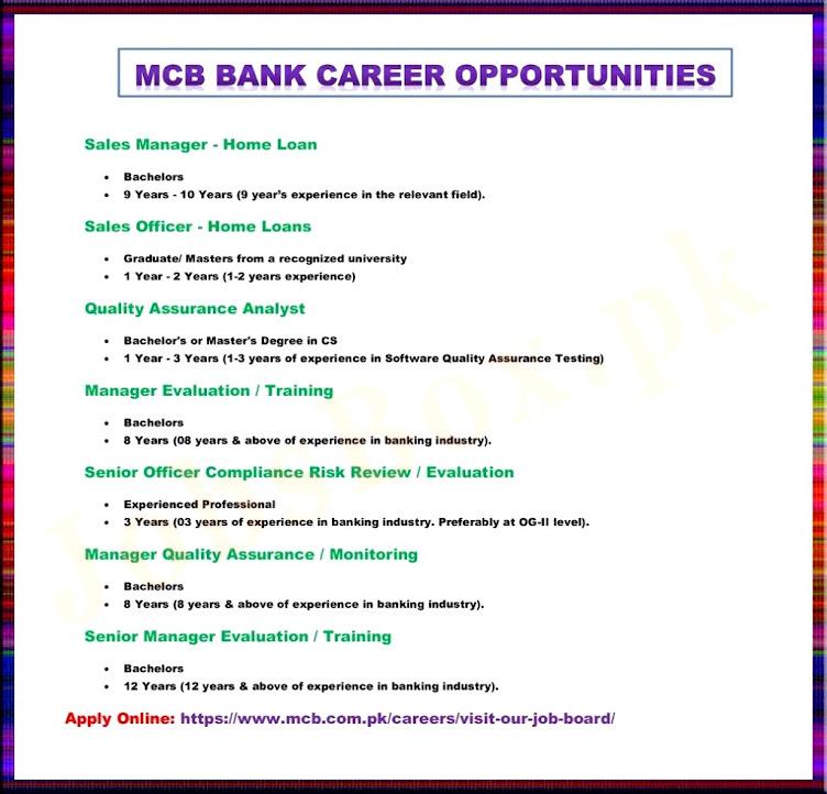 MCB Bank Latest  Jobs 2021 Recruitment – Apply Online www.mcb.com.pk