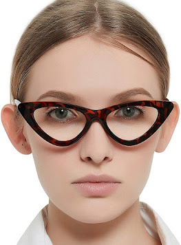 Small Narrow Clear Cat Eye Glasses for Women