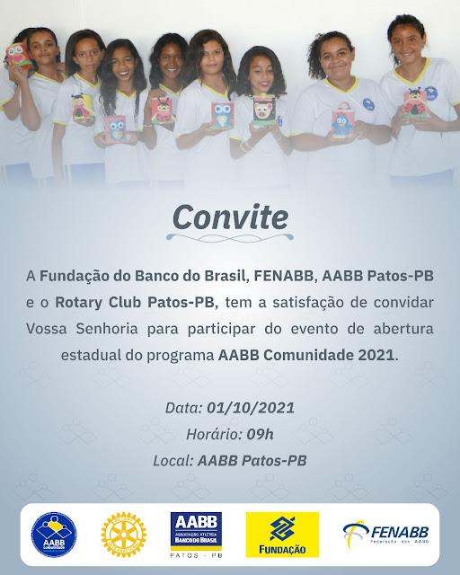 FBB, FENABB, AABB Patos-PB, em parceria com o Rotary Club de Patos-PB, realiza a abertura do programa AABB Comunidade de Patos-PB em 2021