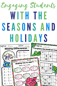 Provide your first grade students with fun and engaging math practice.  These seasonal and holiday themed math practice activities include every first grade math skill for the entire school year.