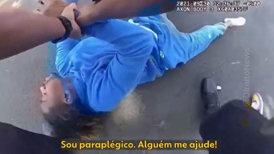 policiais retiram homem negro paraplegico cabelos