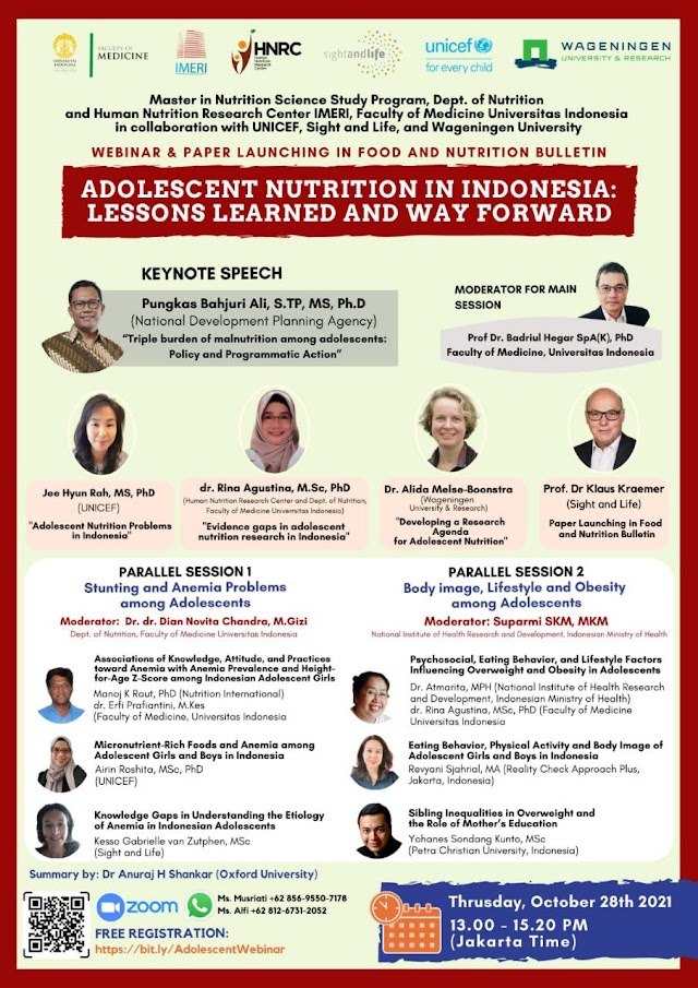 """(FREE) Webinar & Paper Launching in Food and Nutrition Bulletin    """"ADOLESCENT NUTRITION IN INDONESIA: LESSONS LEARNED AND WAY FORWARD"""""""