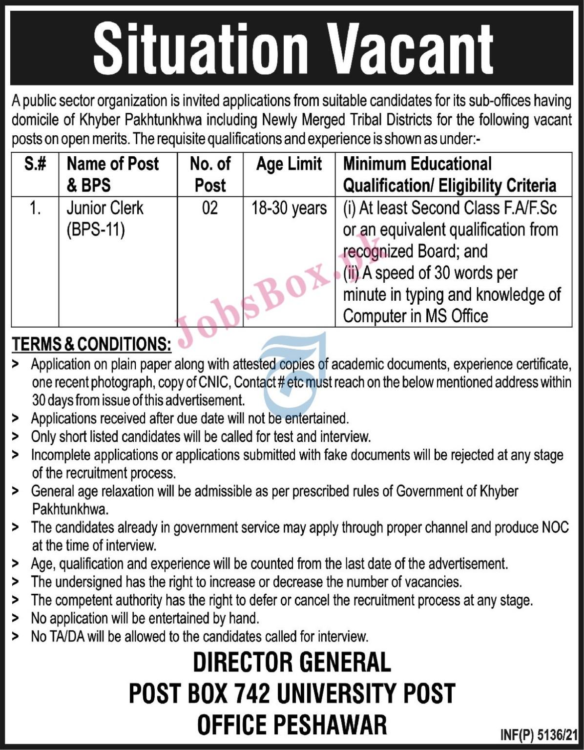 Public Sector Organization KPK Jobs 2021 – PO Box No 742 Peshawar Jobs