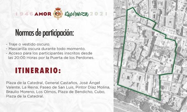 Horario e Itinerario Rosario Extraordinario María del Amor y la Esperanza. Almería 16 de Octubre del 2021
