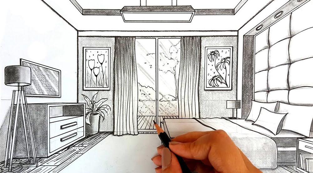 Cómo dibujar en perspectiva una habitación_7