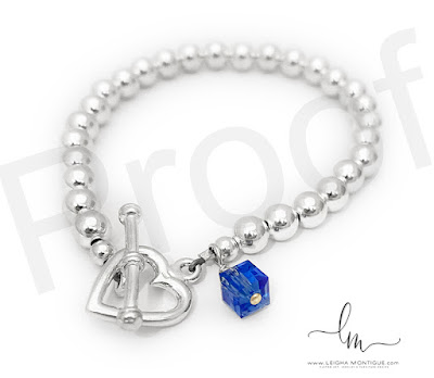 Sapphire Birthstone Bracelet with a Heart Toggle Clasp.