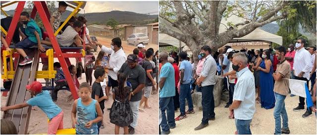 Prefeito de Piatã participa de missa no feriado de Nossa Senhora Aparecida e Inaugura parquinho em Inúbia