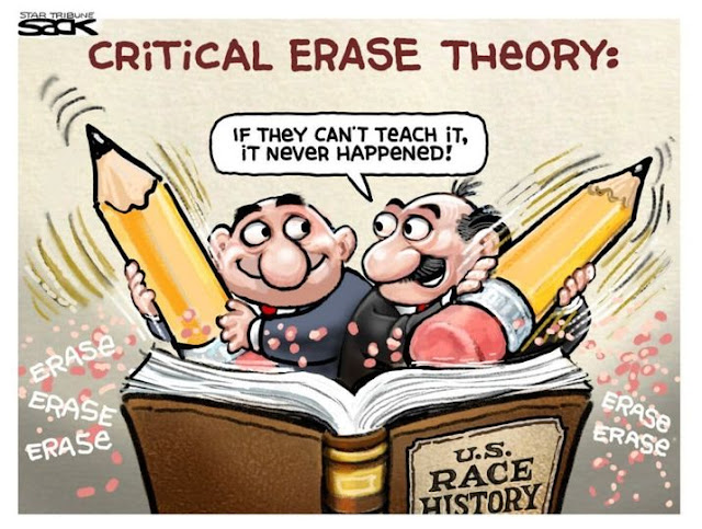 Title:  Critical Erase Theory.  Image:  Two men wielding giant erasers over book titled