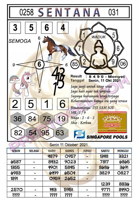 Pred Syair Sentana Singapura45 Senin 11-Okt-2021
